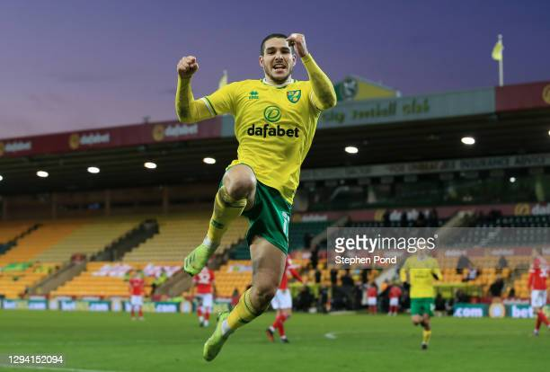 Emi Buendia of Norwich City celebrates after scoring their team's first goal during the Sky Bet Championship match between Norwich City and Barnsley...