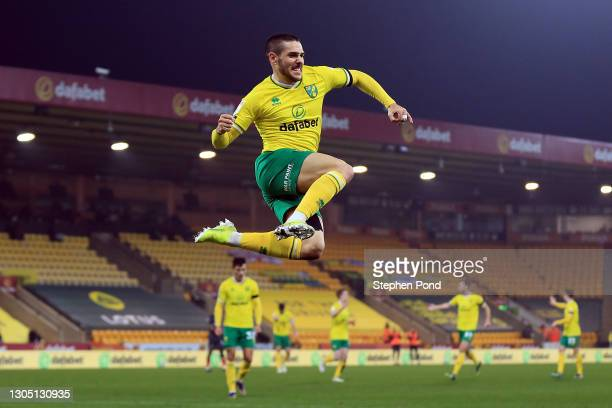 Emi Buendia of Norwich City celebrates after scoring their team's first goal during the Sky Bet Championship match between Norwich City and Brentford...
