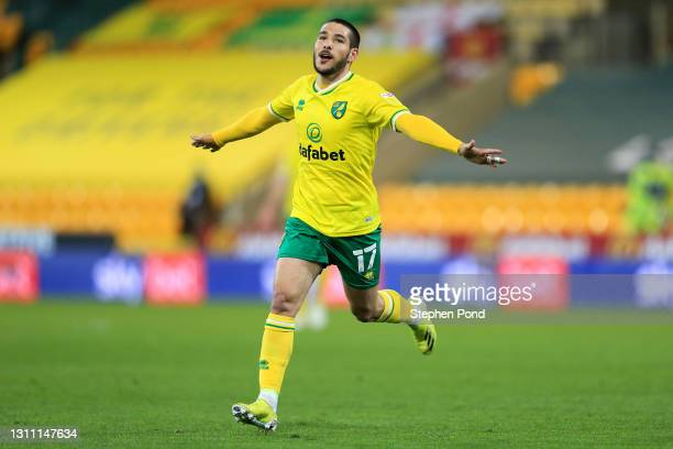 Emi Buendia of Norwich City celebrates after scoring their team's third goal during the Sky Bet Championship match between Norwich City and...