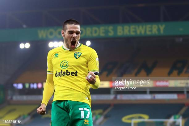 Emi Buendia of Norwich City celebrates his goal during the Sky Bet Championship match between Norwich City and Brentford at Carrow Road on March 03,...