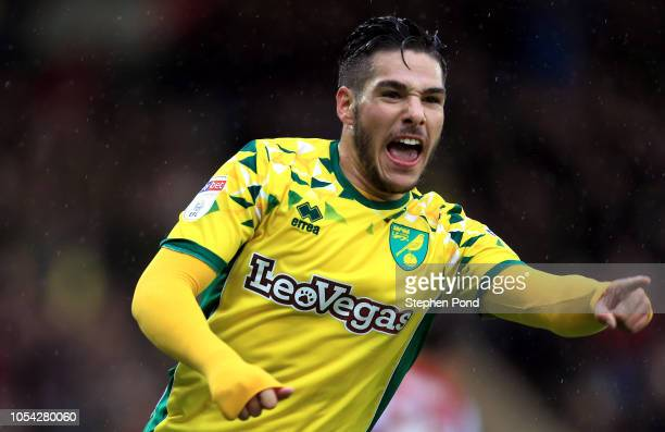 Emi Buendia of Norwich City celebrates his opening goal during the Sky Bet Championship match between Norwich City and Brentford at Carrow Road...