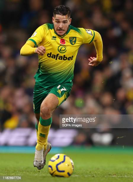 Emi Buendia of Norwich City in action during the Premier League match between Norwich City and Watford FC at Carrow Road. Final Score; Norwich City 0...