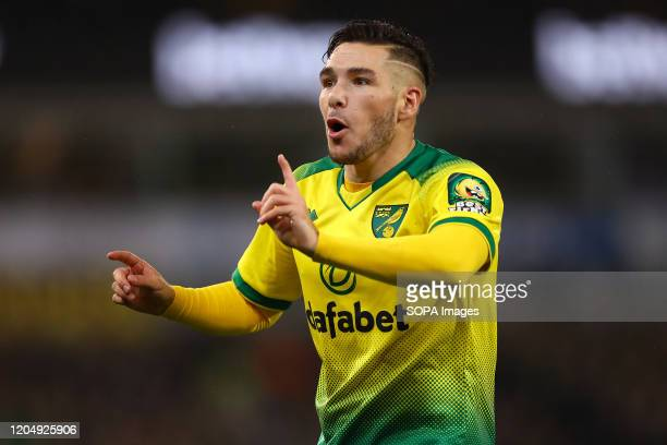 Emi Buendia of Norwich City reacts during the Premier League match between Norwich City and Leicester City at Carrow Road Final Score Norwich City 10...