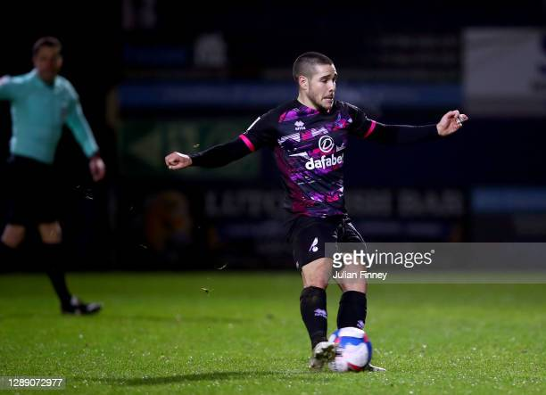 Emi Buendia of Norwich City scores their team's first goal from a penalty during the Sky Bet Championship match between Luton Town and Norwich City...