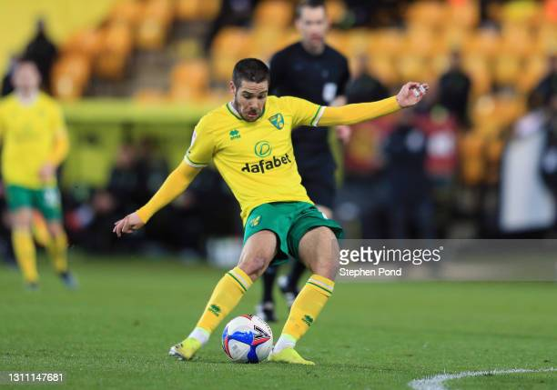 Emi Buendia of Norwich City scores their team's third goal during the Sky Bet Championship match between Norwich City and Huddersfield Town at Carrow...