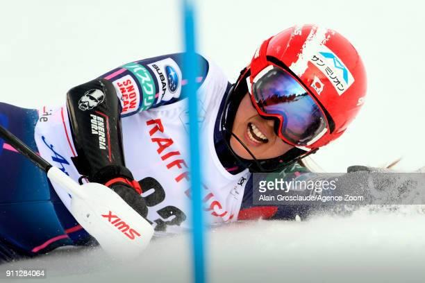 Emi Hasegawa of Japan crashes out during the Audi FIS Alpine Ski World Cup Women's Slalom on January 28 2018 in Lenzerheide Switzerland