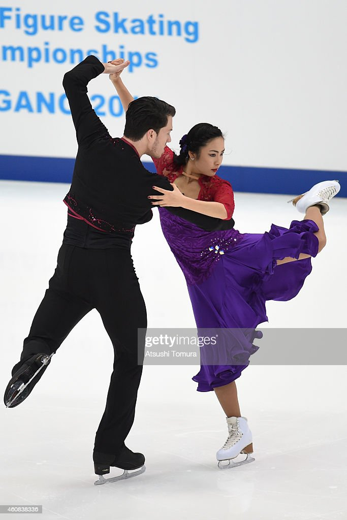 Emi Hirai and Marien De La Asuncion of Japan compete in the Ice Dance Short Dance during the 83rd All Japan Figure Skating Championships at Big Hat on December 26, 2014 in Nagano, Japan.