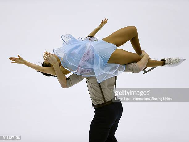Emi Hirai and Marien De La Asuncion of Japan perform during the Ice Dance Short Dance on day one of the ISU Four Continents Figure Skating...