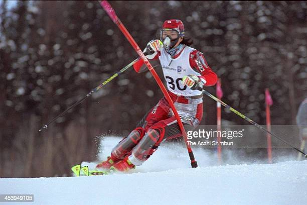 Emi Kawabata of Japan competes in the slalom of the Women's Alpine Combined during the Lillehammer Olympic on February 21 1994 in Lillehammer Norway