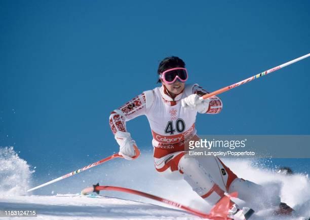 Emi Kawabata representing Japan in the women's slalom during the 1988 Winter Olympics at the Nakiska ski resort on February 26, 1988 in Calgary,...