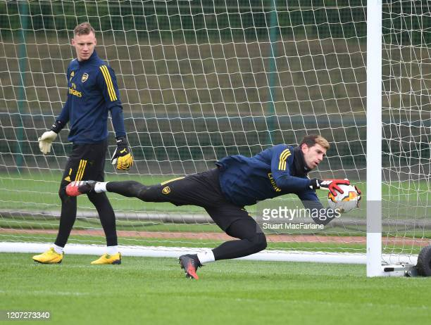 Emi Martinez and Bernd Leno of Arsenal during a training session at London Colney on February 19 2020 in St Albans England