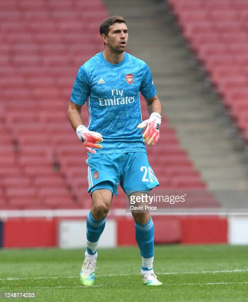 Emi Martinez of Arsenal during the friendly match between Arsenal and Brentford at Emirates Stadium on June 10 2020 in London England