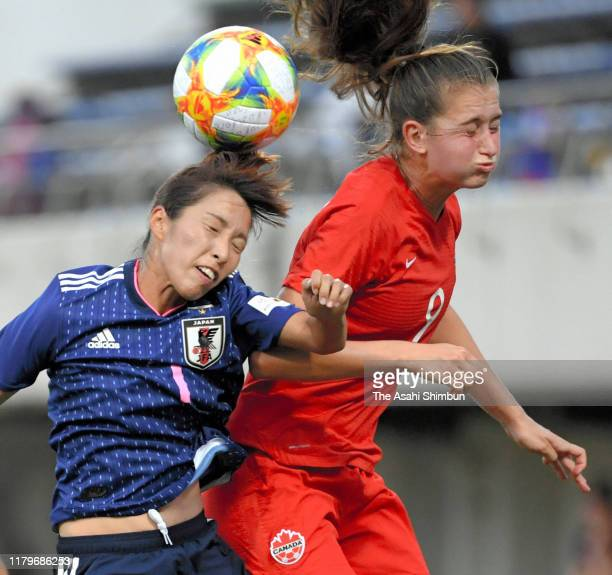 Emi Nakajima of Japan and Jordyn Huitema of Canada compete for the ball during the international friendly match between Japan and Canada at IAI...