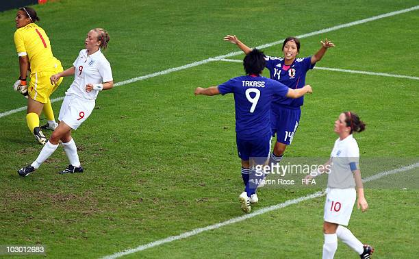 Emi Nakajima of Japan celebrates after scoring the opening goal during the 2010 FIFA Women's World Cup Group C match between Japan and England at the...