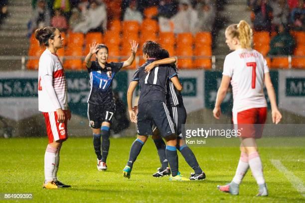 Emi Nakajima of Japan celebrates scoring the opening goal with her team mates during the international friendly match between Japan and Switzerland...