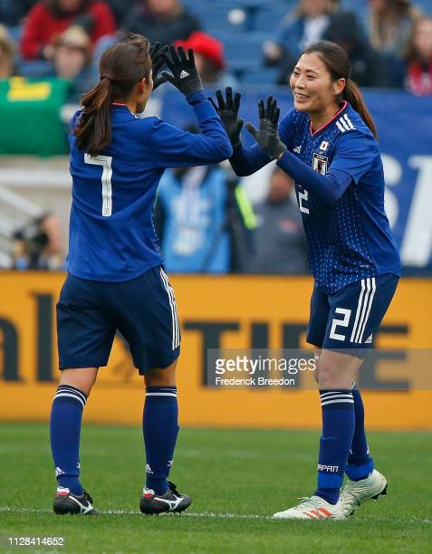 Emi Nakajima of Japan celebrates with teammate Rumi Utsugi after a goal against Brazil during the first half of the 2019 SheBelieves Cup match...