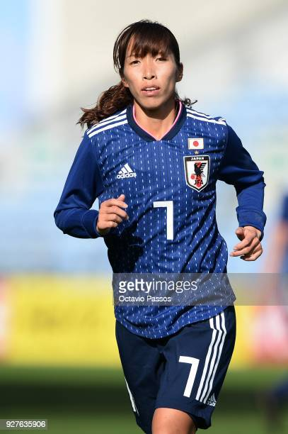 Emi Nakajima of Japan in action during the Women's Algarve Cup Tournament match between Denmark and Japan at Algarve stadium on March 5 2018 in Faro...