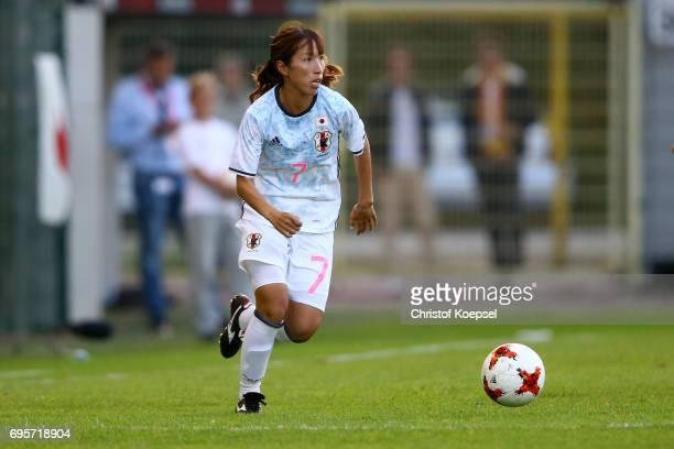 Emi Nakajima of Japan runs with the ball during the Women's International Friendly match between Belgium and Japan at Stadium Den Dreef on June 13...