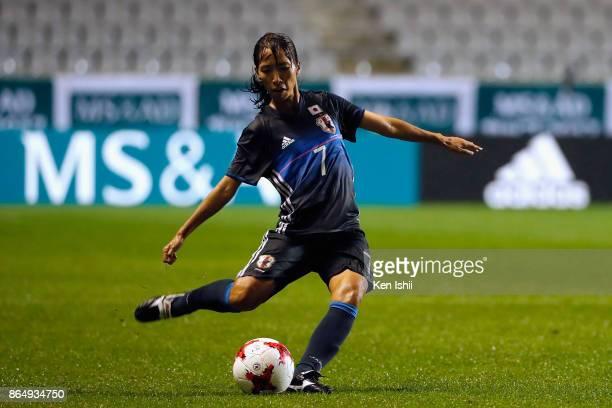 Emi Nakajima of Japan takes a free kick during the international friendly match between Japan and Switzerland at Nagano U Stadium on October 22 2017...