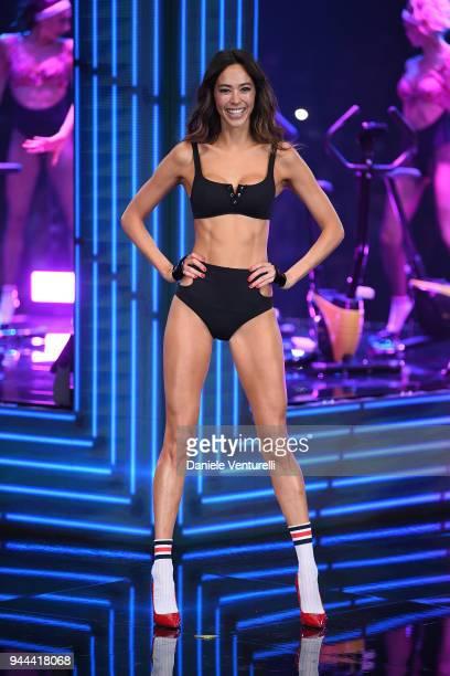 Emi Renata walks the runway at the Calzedonia Summer Show on April 10 2018 in Verona Italy