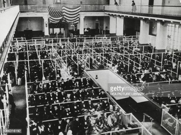 Emigrants awaiting medical examinations Ellis Island, New York, United States of America, 20th century.