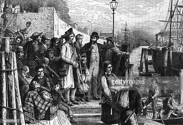 Emigrants boarding a ship to America in Hamburg Engraving 1877