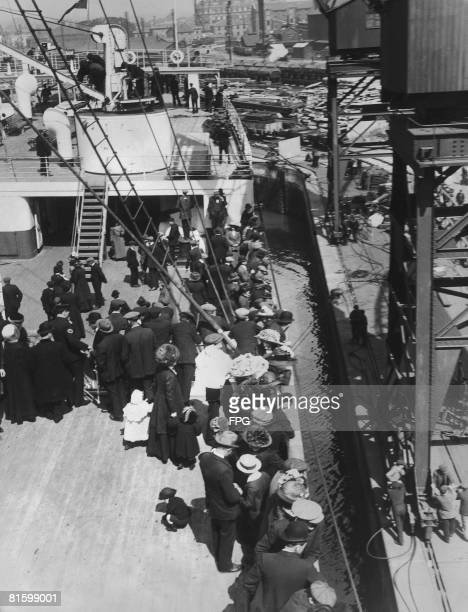 Emigrants on board the RMS Olympic sister ship of the Titanic circa 1913