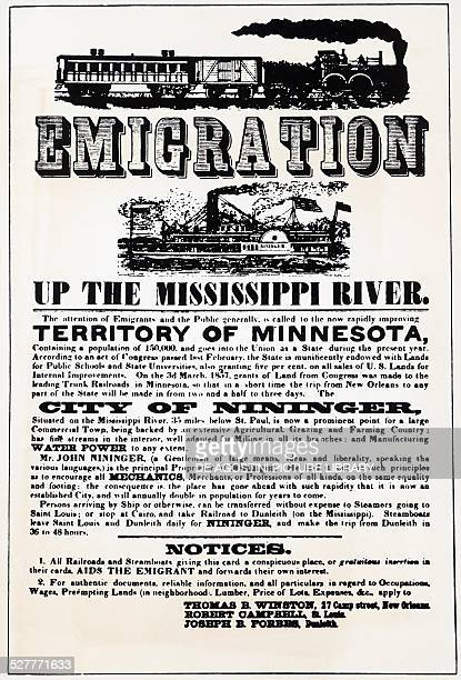 Emigration up the Mississippi river, poster advertising emigration along the Mississippi River, ca 1857. United States of America, 19th century.