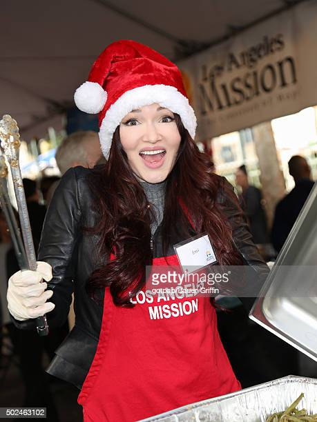 Emii is seen at the annual Los Angeles Mission Christmas Dinner on December 24 2015 in Los Angeles California