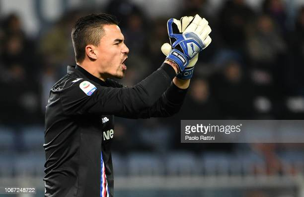Emil Audero goalkeeper of Sampdoria during the Serie A match between UC Sampdoria and Bologna FC at Stadio Luigi Ferraris on December 1 2018 in Genoa...