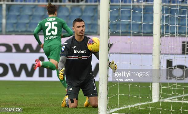 Emil Audero goalkeeper of UC Sampdoria after penalty of Federico Chiesa of ACF Fiorentina during the Serie A match between UC Sampdoria and ACF...