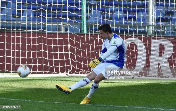 Emil Audero goalkeeper of UC Sampdoria during the Serie A match between UC Sampdoria and Hellas Verona at Stadio Luigi Ferraris on March 8 2020 in...