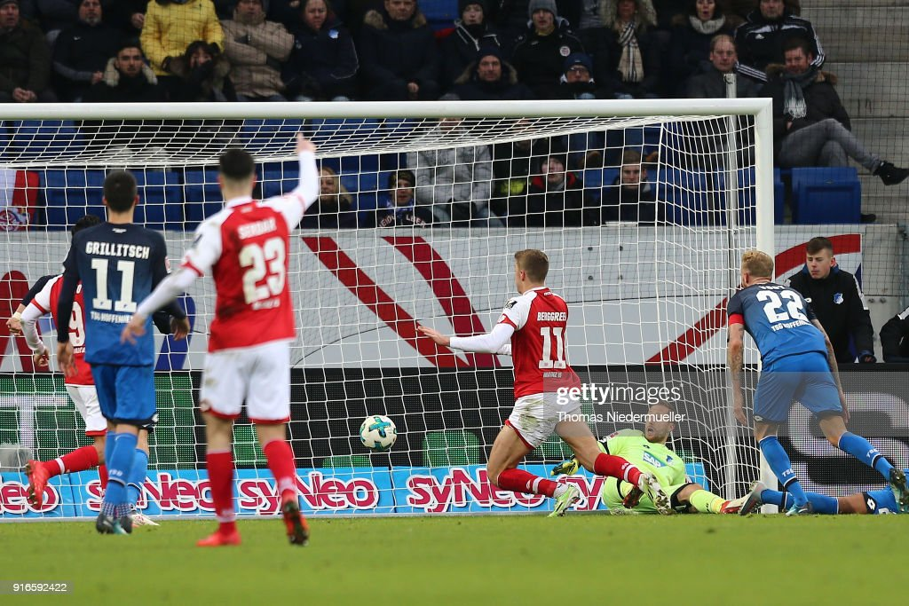 Emil Berggreen (C) of Mainz scores during the Bundesliga match between TSG 1899 Hoffenheim and 1. FSV Mainz 05 at Wirsol Rhein-Neckar-Arena on February 10, 2018 in Sinsheim, Germany.