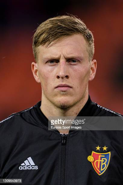 Emil Bergstrom of Basel getting into the field during the UEFA Europa League round of 32 second leg match between FC Basel and APOEL Nikosia at St...
