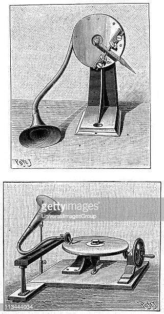 Emil Berliner's Gramophone Top Recording stylus and mouthpiece Bottom Playing a disc Engraving published Paris 1888