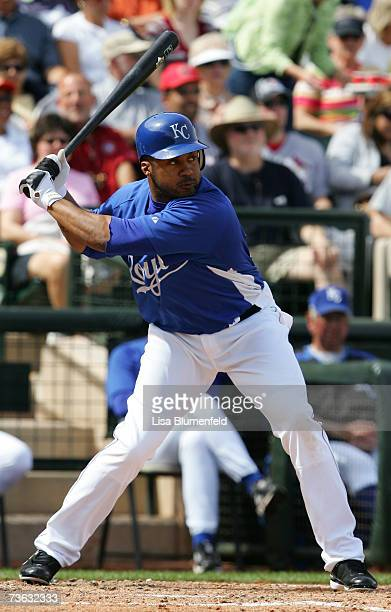 Emil Brown of the Kansas City Royals bats during a Spring Training game against the Texas Rangers at Surprise Stadium on March 4 2007 in Surprise...