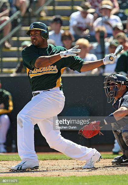 Emil Brown of the Oakland A's bats against the Seattle Mariners on March 4 2008 at Phoenix Muncipal Stadium in Phoenix Arizona The A's won 96