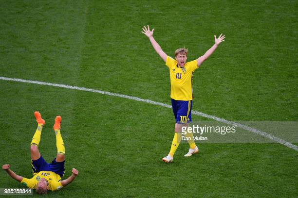 Emil Forsberg and Ola Toivonen of Sweden celebrate at the final whistle following the 2018 FIFA World Cup Russia group F match between Mexico and...