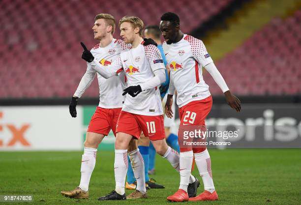 Emil Forsberg JeanKevin Augustin and Timo Werner of RB Leipzig celebrate the 13 goal scored by Timo Werner during UEFA Europa League Round of 32...