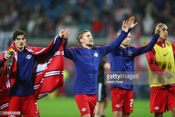 Emil Forsberg of Leipzig and team mates celebrate after the UEFA Europa League Qualifying PlayOff second leg match between RB Leipzig and Zorya...