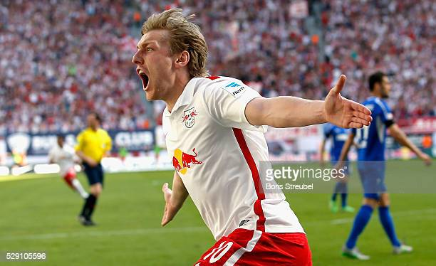 Emil Forsberg of Leipzig celebrates after scoring her team's first goal during the Second Bundesliga match between RB Leipzig and Karlsruher SC at...