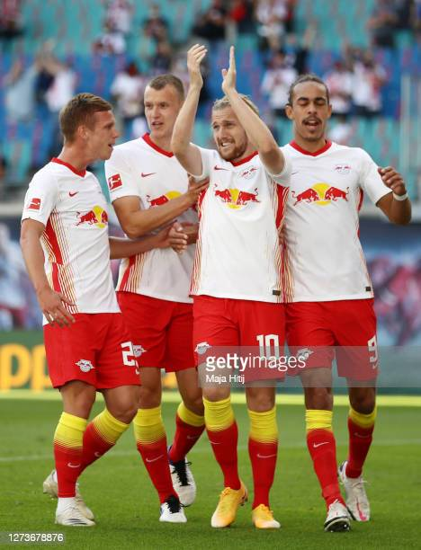Emil Forsberg of Leipzig celebrates his team's first goal during the Bundesliga match between RB Leipzig and 1 FSV Mainz 05 at Red Bull Arena on...
