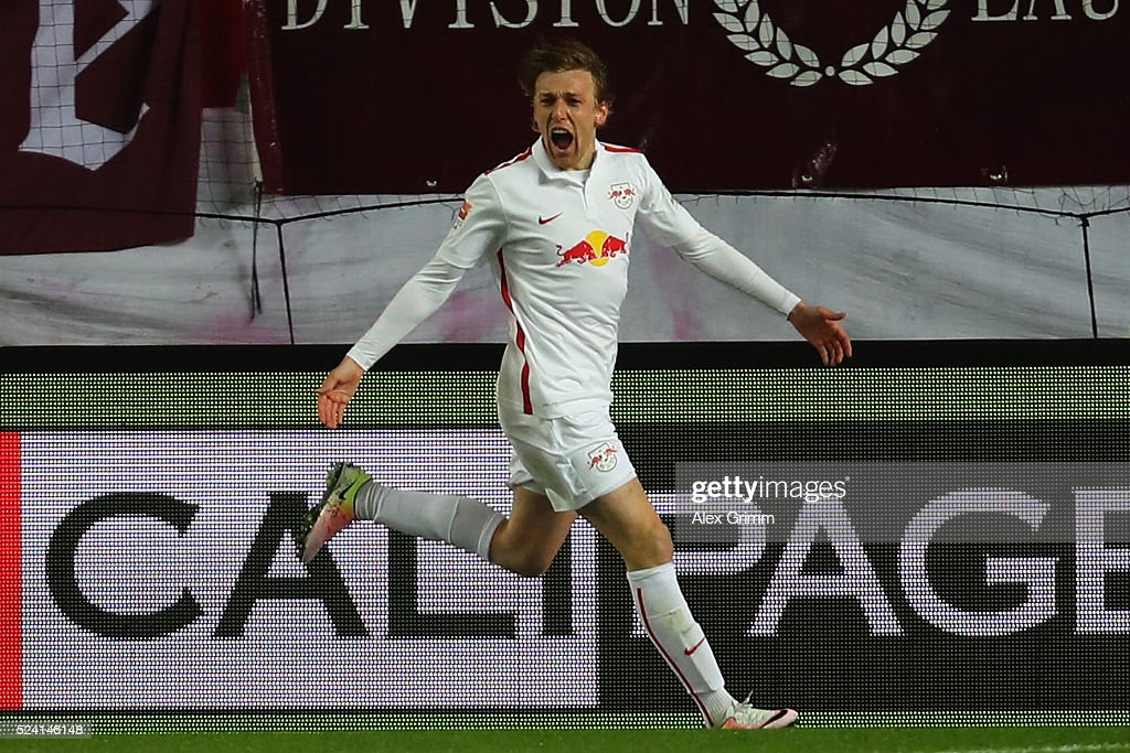 Emil Forsberg of Leipzig celebrates his team's first goal during the Second Bundesliga match between 1. FC Kaiserslautern and RB Leipzig at Fritz-Walter-Stadion on April 25, 2016 in Kaiserslautern, Germany.