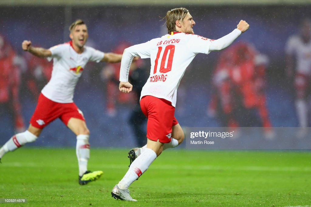 bfb072aa180 Emil Forsberg of Leipzig celebrates his team s third goal during the UEFA  Europa League Qualifying Play