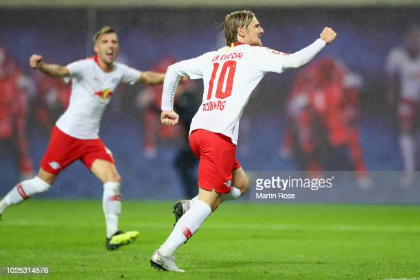 Emil Forsberg of Leipzig celebrates his team's third goal during the UEFA Europa League Qualifying PlayOff second leg match between RB Leipzig and...