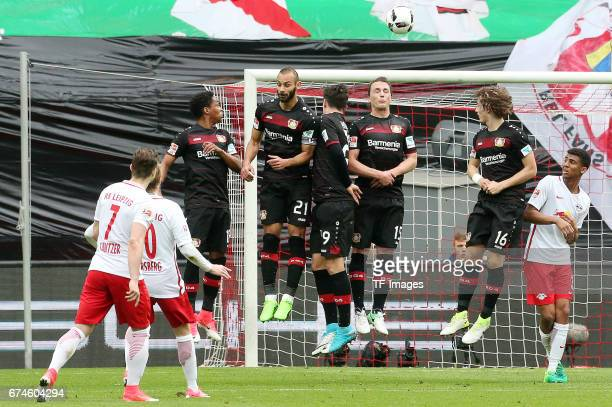 Emil Forsberg of Leipzig in action during the Bundesliga match between RB Leipzig and Bayer 04 Leverkusen at Red Bull Arena on April 8 2017 in...