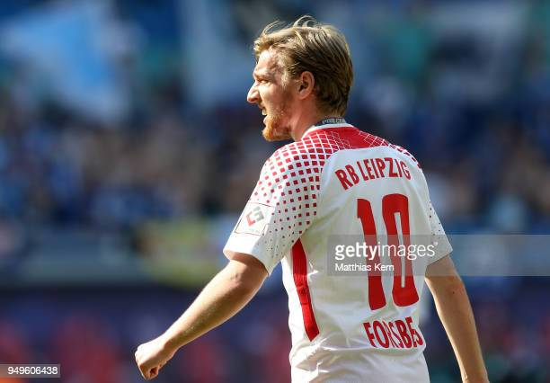 Emil Forsberg of Leipzig looks on during the Bundesliga match between RB Leipzig and TSG 1899 Hoffenheim at Red Bull Arena on April 21 2018 in...