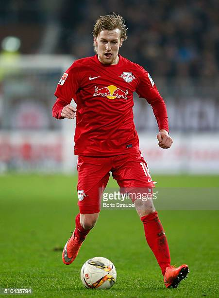 Emil Forsberg of Leipzig runs with the ball during the Second Bundesliga match between FC St Pauli and RB Leipzig at Millerntor Stadium on February...