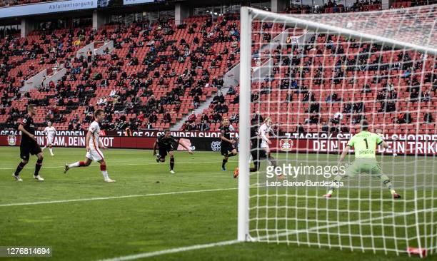 Emil Forsberg of Leipzig scores his teams first goal during the Bundesliga match between Bayer 04 Leverkusen and RB Leipzig at BayArena on September...