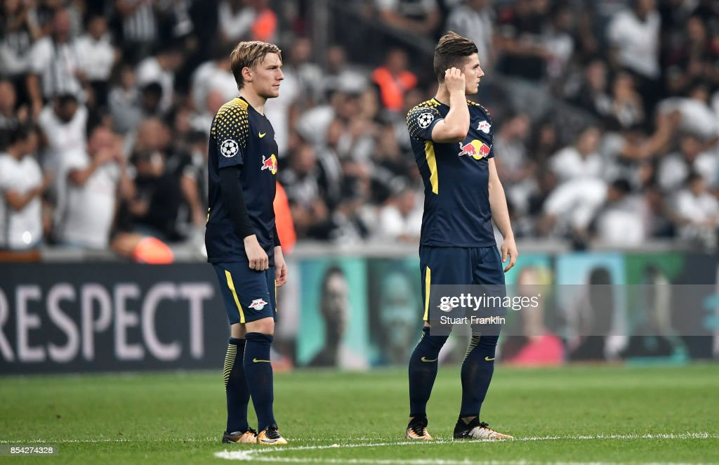 Emil Forsberg of RB Leipzig and Marcel Sabitzer of RB Leipzig looks on during the UEFA Champions League Group G match between Besiktas and RB Leipzig at Besiktas Park on September 26, 2017 in Istanbul, Turkey.